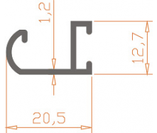 Алюминиевый профиль специальной конфигурации 20,5x12,7x1,2/AS