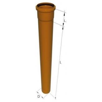 Труба канализационная ПВХ 110x2,7x1000 мм