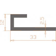 Алюминиевый профиль специальной конфигурации 33х12х2,5 мм