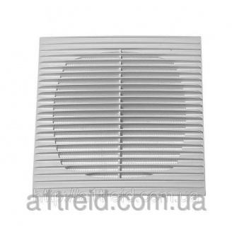 Решетка с москитной сеткой, прямые жалюзи, 134х134 мм (1313Г) (Россия)