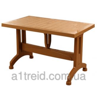 Стол прямоугольный 120 см с пластиковыми ножками коричневый