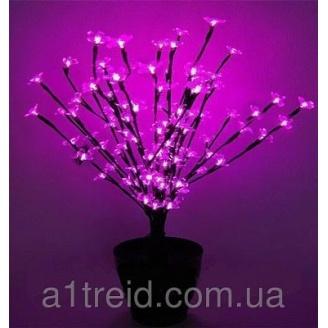 Светодиодное дерево вазон Цветущий бонсай 60 см розовый