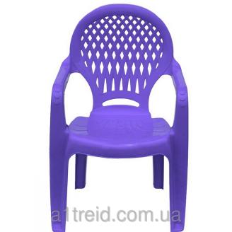 Детское кресло пластиковое Ромб голубое