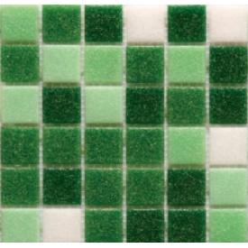 Мозаика стеклянная Stella di Mare R-MOS B1247424641 микс зеленый-5 на сетке 327х327 мм
