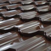 Металлочерепица Тайл Модерн матполиэстер 1195x350x53 мм темно-коричневый