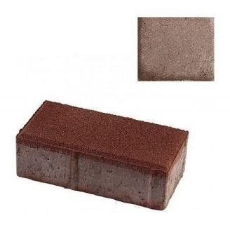 Тротуарная плитка ЮНИГРАН Кирпичик 200х100х60 мм каштан на сером цементе