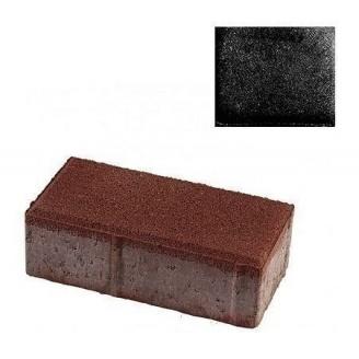 Тротуарная плитка ЮНИГРАН Кирпичик 200х100х60 мм обсидиан на сером цементе