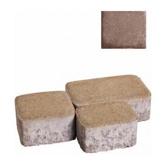 Тротуарная плитка ЮНИГРАН Царское село 60 мм каштан на сером цементе