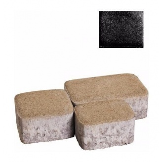 Тротуарная плитка ЮНИГРАН Царское село 60 мм обсидиан на сером цементе