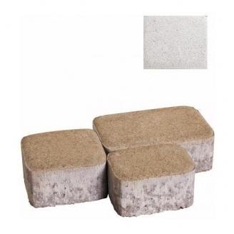 Тротуарная плитка ЮНИГРАН Царское село 80 мм жемчуг на белом цементе