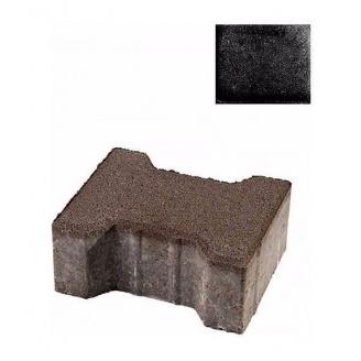 Тротуарна плитка ЮНІГРАН Двотавр 200х165х100 мм обсидіан на сірому цементі