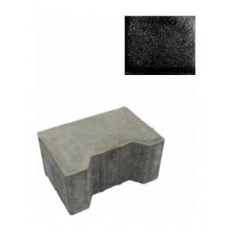 Тротуарна плитка ЮНІГРАН Двотавр П 200х140х100 мм обсидіан на сірому цементі