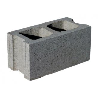 Блок бетонный пустотный ЮНИГРАН заборный М-50 400х200х200 мм серый стандарт