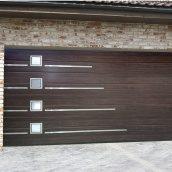 Ворота гаражні секційні Ryterna TLB slick широкий гофр Walnut