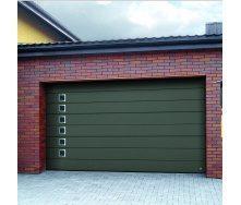 Ворота гаражные секционные Ryterna TLB woodgrain широкий гофр RAL 6003