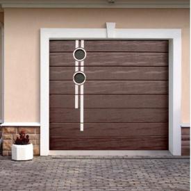Ворота гаражные секционные Ryterna R40 woodgrain широкий гофр RAL 8017