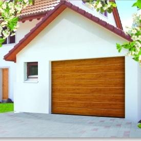Ворота гаражные секционные Ryterna TLB slick широкий гофр Golden oak