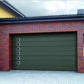 Ворота гаражні секційні Ryterna TLB woodgrain широкий гофр RAL 6003