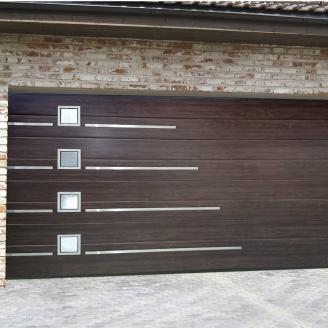 Ворота гаражные секционные Ryterna TLB slick широкий гофр Walnut