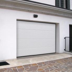 Ворота гаражні секційні Ryterna TLB stucco макросмуга RAL 9016 білий
