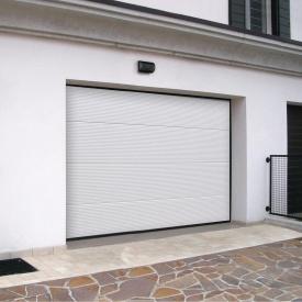 Ворота гаражные секционные Ryterna R40 stucco макрополоса RAL 9016 белый
