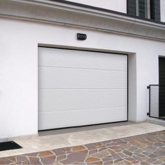 Ворота гаражные секционные Ryterna TLB stucco макрополоса RAL 9016 белый