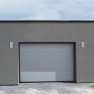 Ворота гаражные секционные Ryterna TLB stucco макрополоса RAL 9007