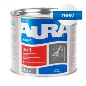 Грунт-эмаль Aura 3 в 1 А 2,5 кг серый