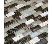 Мозаика из мрамора и стекла VIVACER DAF100 300x300 мм
