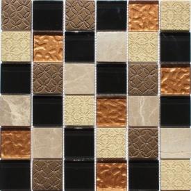 Мозаика из мрамора и стекла VIVACER Mix Bronze 300x300 мм