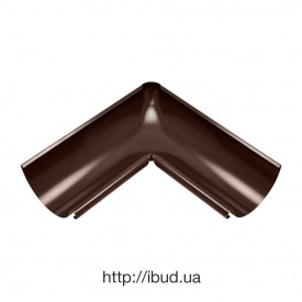 Зовнішній кут жолоба Акведук Преміум 90 градусів 125 мм коричневий RAL 8017