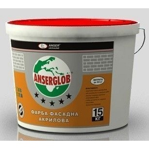 Краска фасадная акриловая Anserglob универсальная 15 кг