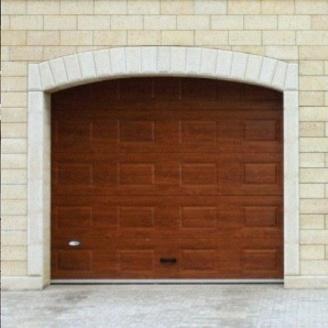Гаражные секционные ворота Alutech Classic 5000х3085х45 мм филенка Woodgrain