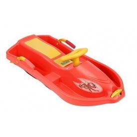 Санки с рулем Plastkon Снежная лодка 93х43х27 см красные