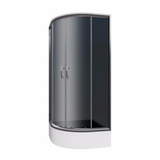 СЕТ кабина Cersanit INEBA 90 полукруглая с поддоном 6 см 90х90х185 см графит