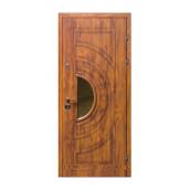 Бронированная дверь Броневик Раунд со стеклом золотой дуб