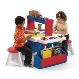Детский стол с двумя стульями для творчества CREATIVE PROJECTS 81х99х67 см 30х31х31 см двухсторонний