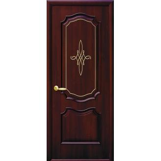 Двери межкомнатные Новый Стиль ИНТЕРА Рока с золотой гравировкой 600х2000 мм каштан