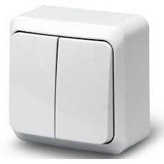 Выключатель IP44 2-клавишный наружной установки белый
