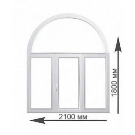 Арочное окно Rehau 2100х1800 мм