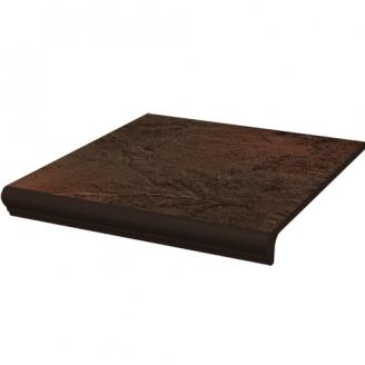 Клинкерная плитка Paradyz Semir Brown ступень с капиносом прямая структурная 30х33 см