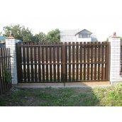 Ворота розпашні штахет металевий коричневі