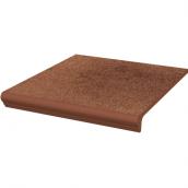 Клинкерная плитка Paradyz Taurus Brown ступень с капиносом прямая структурная 30х33 см