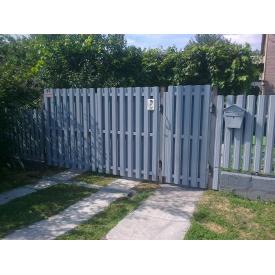 Ворота распашные штакет из секций 2х0,5 м серые