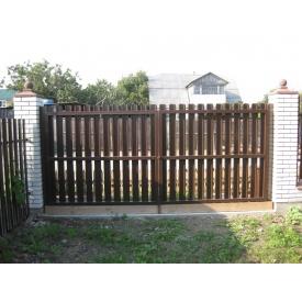 Ворота распашные штакет металлический коричневые