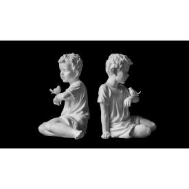 Скульптура Хлопчик з пташкою 450х420х330 мм