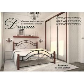 Двуспальная кровать Диана Металл-Дизайн 1800х2000 мм с деревянными ножками
