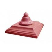 Кришка стовпа бетонна Декор Бетон Дзвіночок 450x450 мм червона
