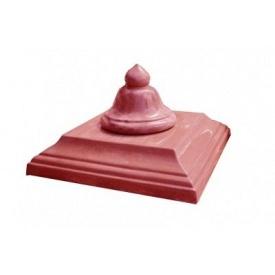 Крышка столба бетонная Декор Бетон Колокольчик 450x450 мм красная
