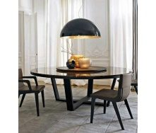 Круглий кухонний стіл D160 натуральний камінь + метал